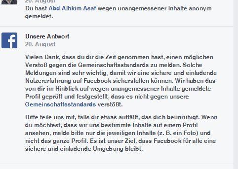 Reaktion durch Facebook
