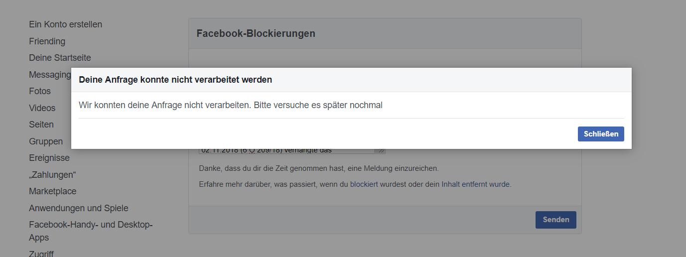 Grund Für Facebook Zensur Sperre Facebook Sperre
